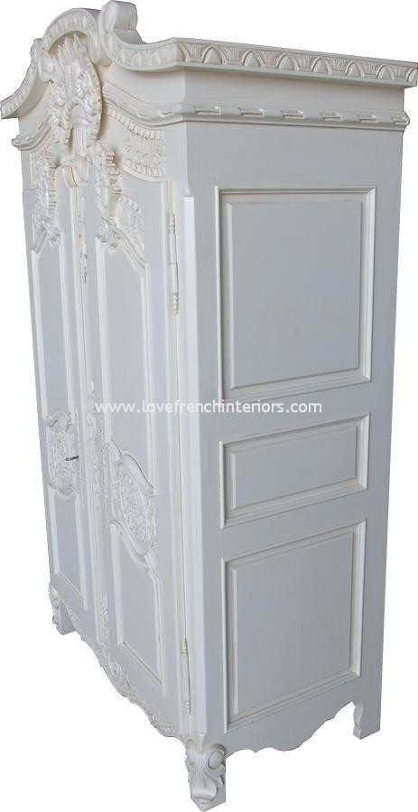 Rococo French Armoire Wardrobe In Antique White